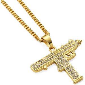 14k Gold Iced Out Gun Necklace Pendant CZ Diamonds